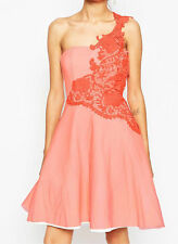 JOHN ZACK PETITE LACE PINK ONE SHOULDER SKATER PROM DRESS SIZE 8 JOHN ZACK