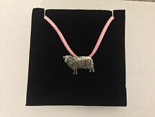 Sheep PP-A36 Pewter Pendant on a PINK CORD Necklace