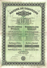Ottoman Turkey Bond 1910 Banque Salonique 100 francs Uncancelled coupons Sultan