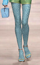 Ladies Lake Blue Leopard Design Tights Pantyhose  Regular Size