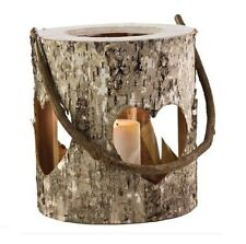 Rustic Wooden Birch Bark Cut Out Heart Lantern Hurricane Hanging Candle Holder