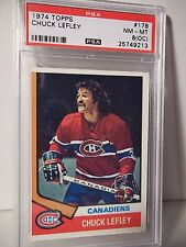 1974 Topps Chuck Lefley PSA NM-MT 8(OC) Hockey Card #178 NHL Collectible