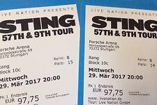 2 TOP Tickets STING Stuttgart - Block 10c -Reihe 8 - Mittwoch, 29.03.2017