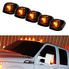 5 Pcs SUV Truck Black Smoked Lens Yellow LED Dome Lights Cab Roof Marker Lamps
