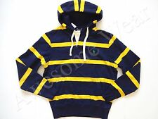 New Ralph Lauren Polo Yellow & Navy Stripe Fleece Cotton Blend Hoodie Jacket S