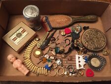 Vintage Junk Drawer Lot Cigarette Case Compact Mirror Earrings Letter Opener