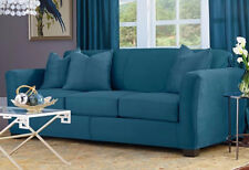 Ultimate Heavyweight Stretch Suede Sofa peacock Slipcover sure fit teal