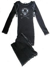 BLACK SKULL BALL CLOSURE STRAP JERSEY LONG DRESS S 10 12 CYBER GOTH STEAMPUNK