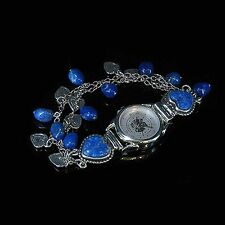 Sterling Silver Lapis Nugget Heart Charm Wristwatch