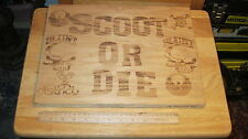 """BLUNT SCOOTERS DISTRICT """"SCOOT OR DIE"""" WOODEN SIGN EXCELLENT!!"""