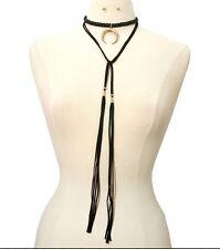 FAUX LEATHER SUEDE TIE Tassel HORSESHOE CHOKER Statement Necklace & Earrings SET