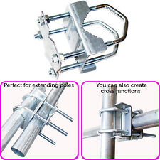 "2"" Shelly Pole/Mast Clamp Bracket-8 Nut-Aerial Bolt Universal Steel Extension TV"