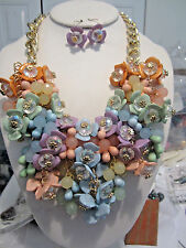 Multi Color Flower Floral Bead Faceted Clear Glass Bead Chunky Necklace Earring
