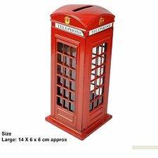 LARGE METALLIC RED TELEPHONE BOX MONEY BANK PIGGY COIN BANK LONDON SOUVENIR GIFT