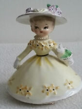 Vintage Napco Miss Dainty Figurine Hat Necklace 50's Cute!