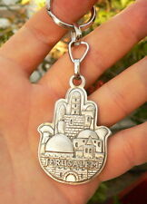 HAMSA Keychain Jerusalem Key Ring Kabbalah Amulet, Hebrew Bible Prayer Blessing