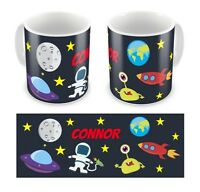 Personalised Printed Children's Kid's Outer Space Any Name Mug Cup Gift Boxed