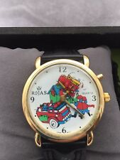 Unisex Quartz Rojas Analogue Collectors Item Moving Disc Fire Engine Strap watch