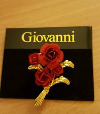 BRAND NEW GOLD PLATED 4 RED ROSES BOUQUET VINTAGE STYLE BROOCH