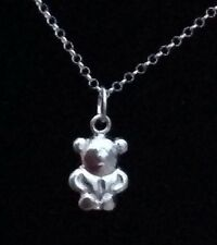 """925 sterling silver Teddy Pendant With 18"""" S Silver Chain"""