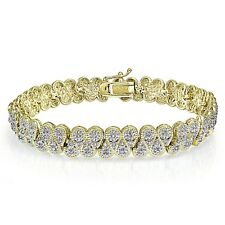 1.00 CTTW Natural Diamond Miracle Set S Tennis Bracelet in Gold Plated Brass