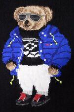 Polo Ralph Lauren Black Wool Blend Ski Bear Intarsia Knit MED Sweater MSRP $395
