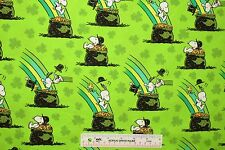 Peanuts Snoopy Pot Of Gold St. Patrick's Day Green 2015 Cotton Fabric BTY (E2)