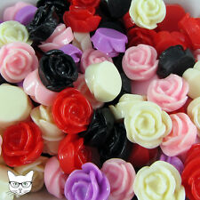 25 Mixed Colours Resin Cabochon 15mm Rose Flower Flat back Embellishment Craft