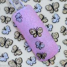 Nail Art Stickers Decals Transfers Gold and Silver Glitter Butterfly Butterflies