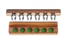 Mahogany Cue Rack with Nylon Clips for 6 Cues