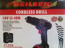 Neilsen 71 piece 18V LI-ION Cordless Drill 2 Batteries & 1 hour charger ct3822