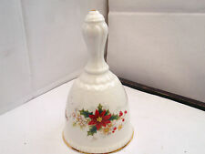 ROYAL ALBERT CHRISTMAS BELL WITH POINSETTIA PATTERN    BRASS CLANGER