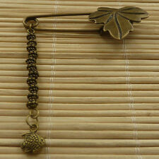 33pcs bronze plated maple leaf brooch with fish charms 57x23mm ZH980