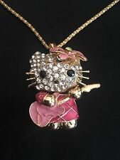 Betsey Johnson Rhinestone and Enamel necklace.  Pink Kitty playing a Guitar.