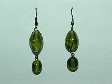 CHUNKY GREEN GLASS BEAD EARRINGS BLACK PLATED METAL DETAIL GG hook