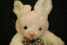 "Pink Teddy Bear White Rabbit Outfit Brown Plaid Bow Plush 10"" Wide Way Toy Lovey"