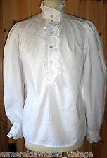VINTAGE 70S 80S LAURA ASHLEY HIGH NECK RUFFLE BLOUSE UK 16 VICTORIAN EDWARDIAN