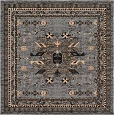Traditional Gray Rug New Area Rug Oriental Rug 8' x 8' Square Rug Classic Carpet