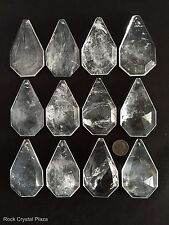 Rock Crystal Quartz Chandelier Pendants Parts Prisms Flat Cut Kite 85mm 12pc