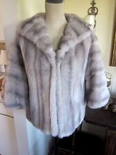Vintage faux (fake) fur silver short coat jacket stole cape style wrap M/L