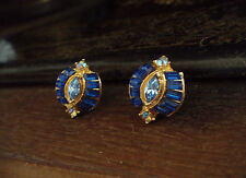 Vintage Deco Sapphire Baguette and Marquise Crystal  Pierced Earrings