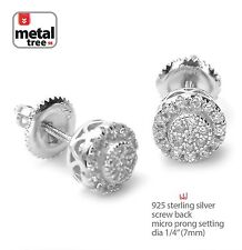 Hip Hop 925 Silver Micro Pave Double Round Screw Back Stud Men's Earring 460S