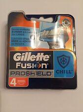 4 Gillette Fusion ProShield Chill Blau Rasierklingen in OVP mit Seriennummer