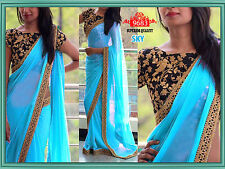 Latest Bollywood sari Indian Designer Georgette Embroidered Partywear saree