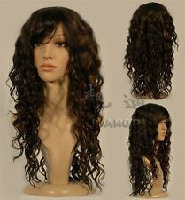 New Long Brown curly Miss Fashion wigs Human-made hair wigs+cap H000