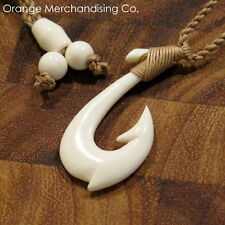 Hawaiian Fish Hook Bone Necklace Maori Hei Matau Pendant New Zealand Choker A3