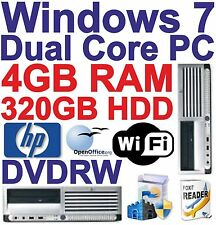 Windows 7 HP DUAL CORE 2x3.40ghz - COMPUTER DESKTOP - 320gb hdd+4gb RAM-WIFI +