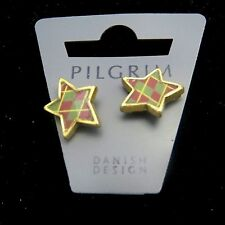 Pilgrim Jewelry Brass Tone Star Shaped Earrings with Butterfly Back: 343303 A