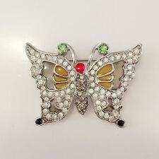 New Yellow Clear Green Butterfly European Style Spirit Crystal Brooch Pin BR1310
