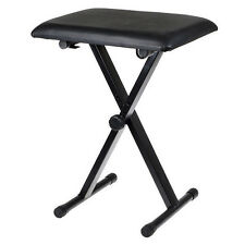 Black Piano Stool Keyboard Bench Padded Seat Cushion Chair Adjustable Height NEW